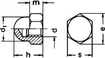 Hutmuttern V2A DIN 1587 Edelstahl Muttern A2 in M3 M4 M5 M6 M8 M10 M12 M14 M16