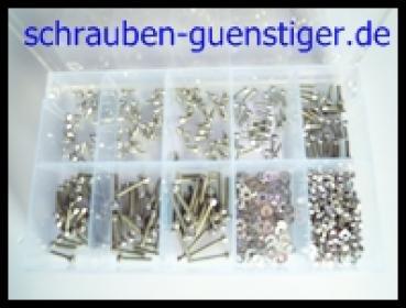 Sortiment-Senkkopfschrauben DIN 965 TORX M2 Edelstahl A2 500 Teile
