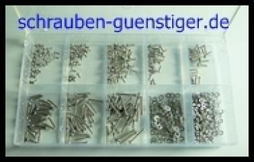 Sortiment-Senkkopfschrauben mit Kreuzschlitz DIN 965 M2 Edelstahl A2 500 Teile