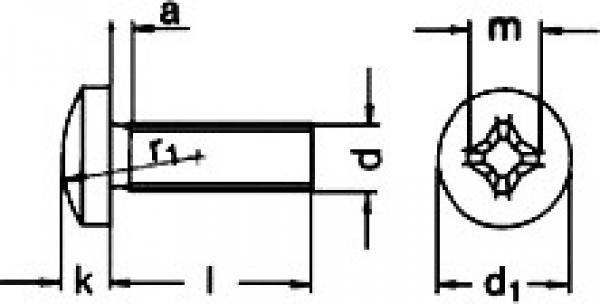 x50 Linsenkopfschrauben mit Kreuzschlitz Phillips Edelstahl A2 DIN 7985 M5x8