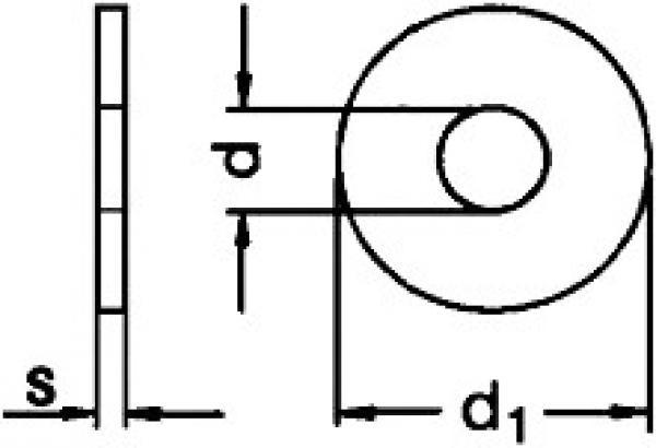 Edelstahl A2 12,5 X 50 - Gro/ße Unterlegscheiben V2A Kotfl/ügelscheiben 5 St/ück Karosseriescheiben f/ür M12
